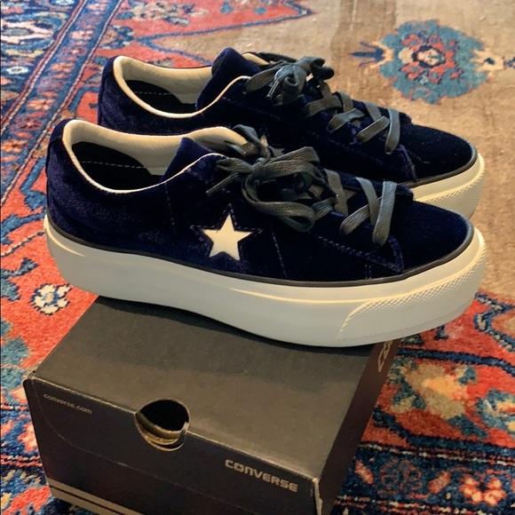 Platform Navy Velvet Sneakers | Poshmark